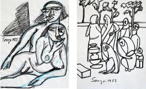 F. N. Souza Set of Two Drawings 11 x 8.5 in. each Ink on paper 1983 Estimate - $7,000 - $9,000
