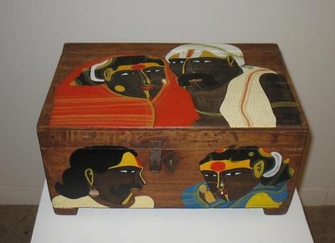 T. Vaikuntam UNTITLED (DESK 1) Paint on wodden desk 8.5 x 17.5 x 11 in.