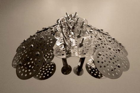 Adeela Suleman CASE 2 2008 Steel drain covers, steel tongs, nuts and bolts, steel measuring spoons, steel frying spoon 18 x 18 x 21 in.