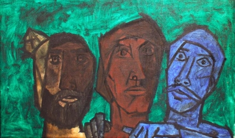 M.F. Husain UNTITLED (HEADS - GREEN) 1957 Oil on canvas 20 x 33 in.