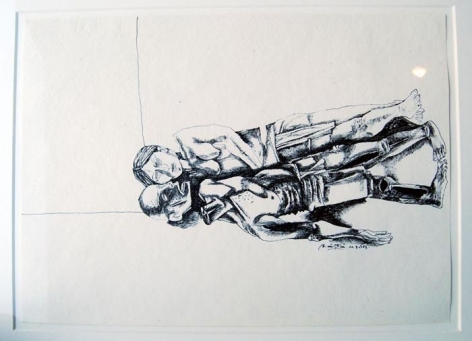 Laxma Goud UNTITLED (PRONE COUPLE) 1983 Ink on paper 10 x 14.5 in.