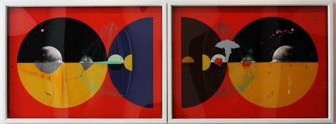 Aditya Pande Half Life Form VII & IX (Diptytch) 2012 Mixed media on archival paper 45 x 122 in.