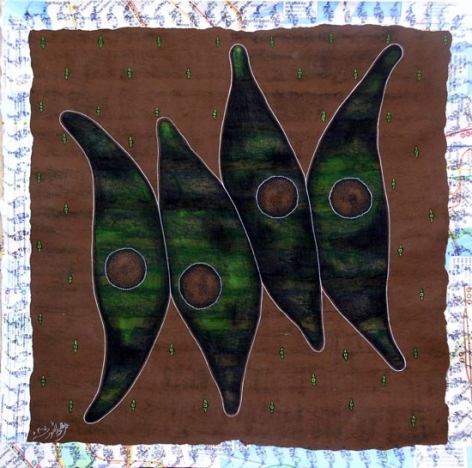 Talha Rathore A HUNDRED SUNS II 2007 Gouache and Block Print on Wasli 14 x 14 in.  SOLD