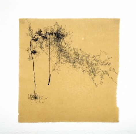 Saad Qureshi Untitled 4 Ink on Chinese paper 16.5 x 17 in NFS