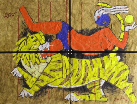 M. F. Husain WOMAN/TIGER 1990 Acrylic on canvas paper 44.5 x 60 in.