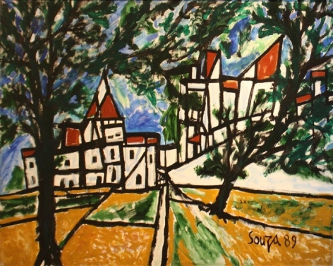 F.N. Souza Goa Landscape 1989 Oil on canvas 48 x 60 in.