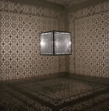 Anila Quayyum Agha Hidden Diamond 2016 Lacquered stainless steel and halogen bulb  36 x 36 x 36 in.