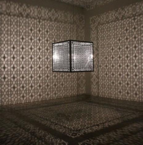 Anila Quayyum Agha Hidden Diamond 2016 Lacquered stainless steel and halogen bulb  36 x 36 x 36 in.