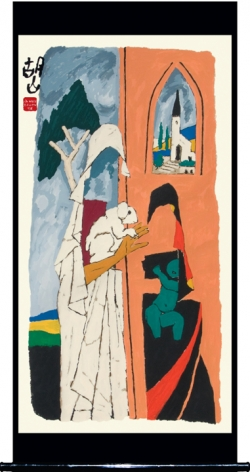 M. F. Husain MOTHER - XII 2008 Screenprint in 14 colors 84 x 26 in.
