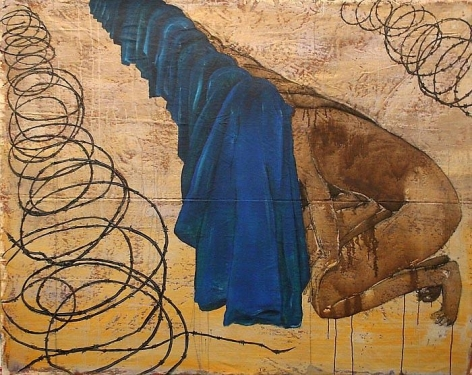 G.R. Iranna THERE ARE NO BORDERS 2007 Acrylic on tarpaulin 52 x 66 in.  SOLD