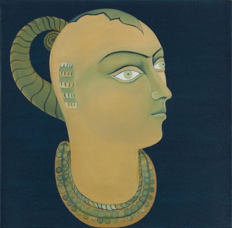 Rekha Rodwittiya Nayika (Blue) 2009 Acrylic and oil on canvas 24 x 24 in.