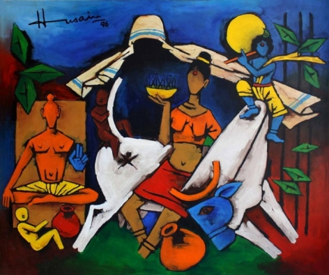 M. F. Husain UNTITLED (MOTHER TERESA WITH KRISHNA AND BULL) Acrylic on canvas 1996 51 x 60 in.
