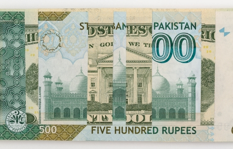 Abdullah M. I. Syed, Weaving Overlapped Realities: 20 US Dollar and 500 Pakistani Rupee (Structures, Verso) (Detail), 2020