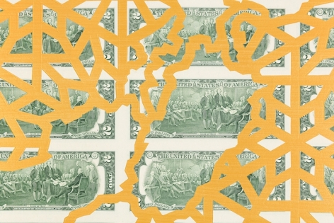 Abdullah M. I. Syed Mapping Investment: Pakistan (Detail 1) 2017 Hand-cut U.S. $2 banknote sheet and banknote collage with acrylic on wasli 20.25 x 50.25 in.