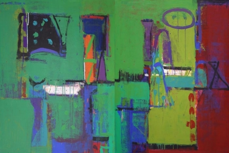 John Tun Sein UNTITLED ABSTRACT 5 (diptych) 2007 Acrylic on Canvas 40 X 80 in.