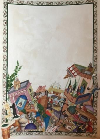 Saks Afridi Miniature Gravity 2017 Miniature painting on wasli 28 x 22 in.