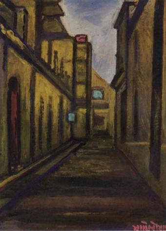 Jamini Roy Untitled (Street Scene) Gouache on card 24 x 17.5 in.