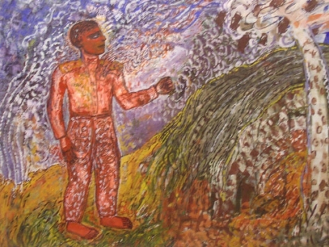 Jayashree Chakravarty UNTITLED MALE STANDING Tempera on canvas board 13.5 x 17.5