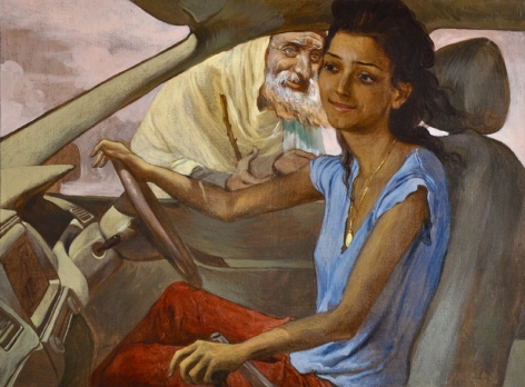 Salman Toor GIRL WITH BEGGAR 2013 Oil on linen 18 x 24 in.