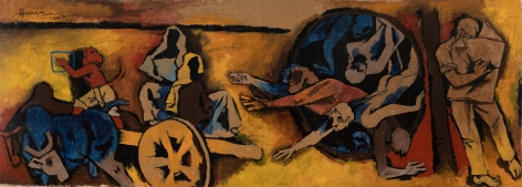 M. F. Husain Beyond Theora 1994 Acrylic on canvas 72 x 194 in