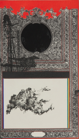 Saad Qureshi NOTHING BUT LIGHT 2013 Oil, spraypaint and wax pencil on giclee print 17.5 x 10 in.