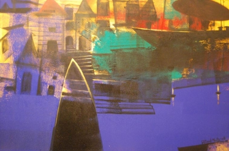 Paresh Maity THE MAGICAL CITY 2008 Oil on canvas 48 x 72 in.