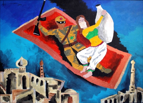 M. F. Husain THIEF OF BAGHDAD 2003 Acrylic on canvas 36 x 48 in.
