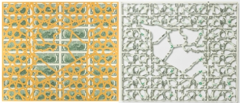 Abdullah M. I. Syed Mapping Investment: Syria (Diptych) 2017 Hand-cut U.S. $2 banknote sheet and banknote collage with acrylic on wasli 20.25 x 50.25 in.
