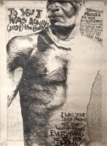 Keith Piper Body Type 1&2 1982 Ink on paper 36 x 48 in each