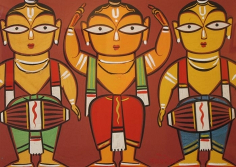 Jamini Roy UNTITLED (THREE MUSICIANS) Gouache on paper 13 x 19 in.