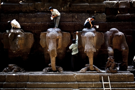 Santosh Verma Washing Elephant Sculptures C-print on archival paper 20 x 30 in.