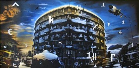 Baiju Parthan Milljunction 1 (Soft Graffiti) 2009 Oil, Acrylic on Canvas 48 x 96 in. (diptych)