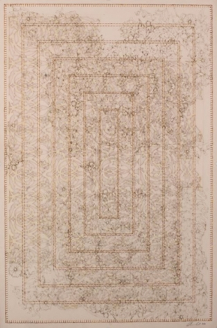 Anila Quayyum Agha Antique Lace - 3 2016 Laser-cut patterns on paper with mylar, encaustic and embroidery 30 x 22 in.
