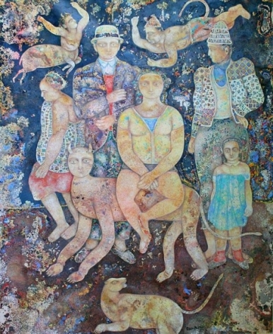 Sakti Burman LA COMEDIE HUMAINE 2008 Oil on canvas 64 x 51 in.