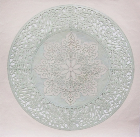 Anila Quayyum Agha All the Flowers Are for Me (Mint) 2015 Embroidery and encaustic on laser-cut paper 30 x 30 in.