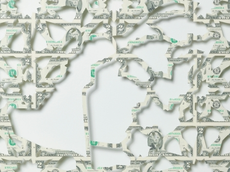 Abdullah M. I. Syed  Mapping Investment: Saudi Arabia (Detail 2)  2017  Hand-cut U.S. $2 banknote sheet and banknote collage with acrylic on wasli  20.50 x 50.50 in