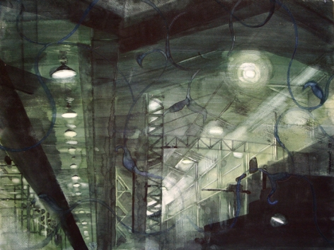 Indrapramit Roy  Small Factory  2007  Watercolor on paper  18 x 23.5 in.