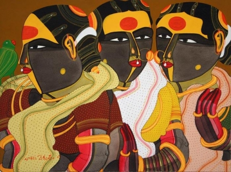 Thota Vaikuntam THREE WOMEN WITH PARROT 2008 Acrylic on canvas 18 x 24 in.