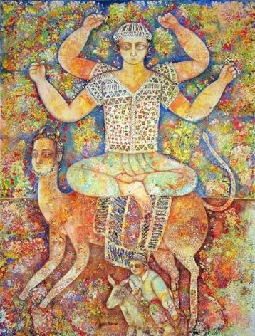 Sakti Burman DIVINITY 2007 Oil on canvas 45.5 x 34.5 in.
