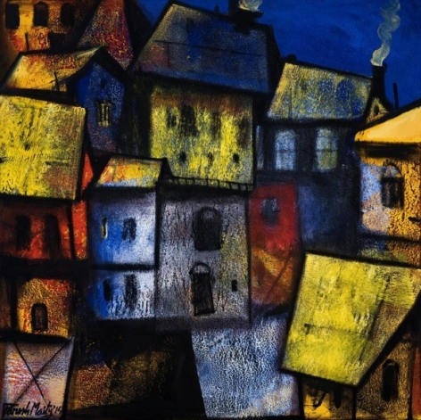 Paresh Maity DAY BREAKING 2015 Oil on canvas 42 x 42 in.