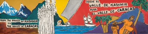 M. F. Husain From the Valley of Kashmir to the Valley of Caracas 1983 Acrylic on canvas 48 x 204 in