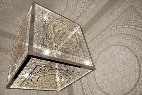 Anila Quayyum Agha CROSSING BOUNDARIES (Ed. of 5) 2015 Laser-cut steel and light bulb 48 x 48 x 48