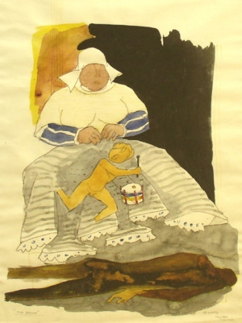 M. F. Husain THE TIN DRUM 1980 Watercolor and marker on paper 22 x 15.5 in.