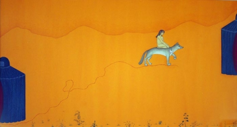 Waseem Ahmed Untitled (Woman on Fox) 12 x 20 in. Gouache on wasli Estimate - $4,000 - $7,000