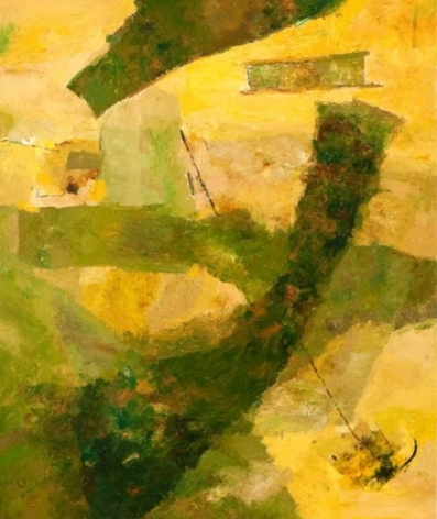 Ram Kumar Untitled Abstract (Green and Yellow) 2007 Oil on canvas 36 x 30 in.