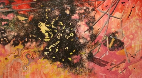 Nitin Mukul BRUSH IN THE ALLEY 2009 Acrylic, oil and tea stains on canvas 50 x 90 in.