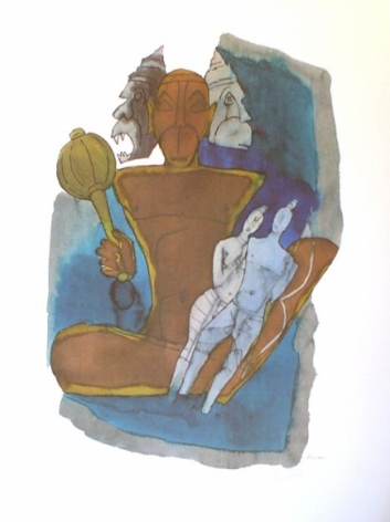 M. F. Husain HANUMAN- THREE HEADS Serigraph edition of 350 24 X 18 in.