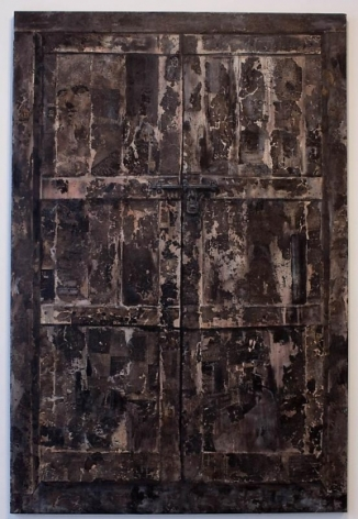 Ali Raza DOOR 2008 Burnt paper collage and acrylic on canvas 71.5 x 47.5 in.