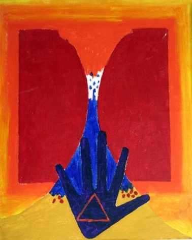 M.F. Husain UNTITLED (HAND) 1960s Oil on canvas 18 x 14 in.  SOLD