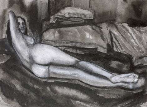 Sharmistha Ray NUDE 7 2013 Charcoal and ink on canvas 12 x 16 in.